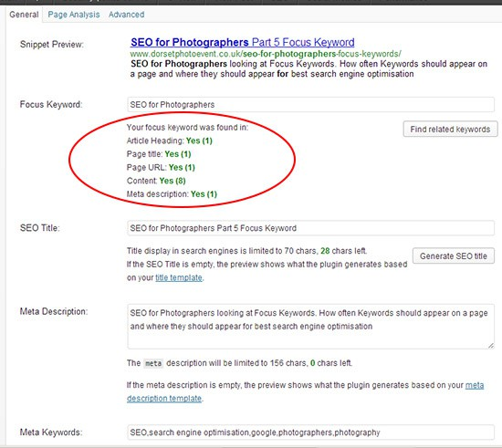 seo for photographers - Yoast general tab
