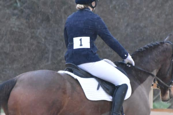 Come in number one your time is up, Dressage in the Rain
