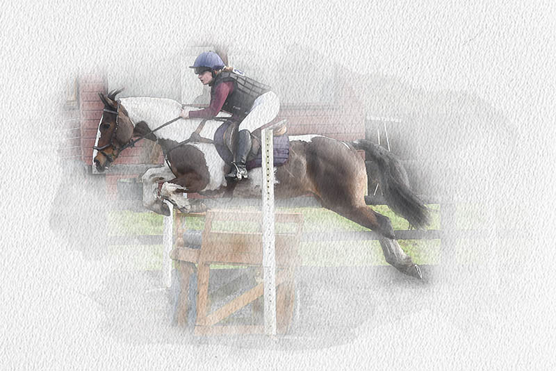 Show Jumping Watercolour Wall Art edit showing how we hide and emphasise the important parts